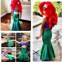 Kids Prinses Ariel De Kleine Zeemeermin Kostuum Meisjes Kinderen Mermaid Tail Badpak Bikini Set Sexy Fancy Party Dress(China)