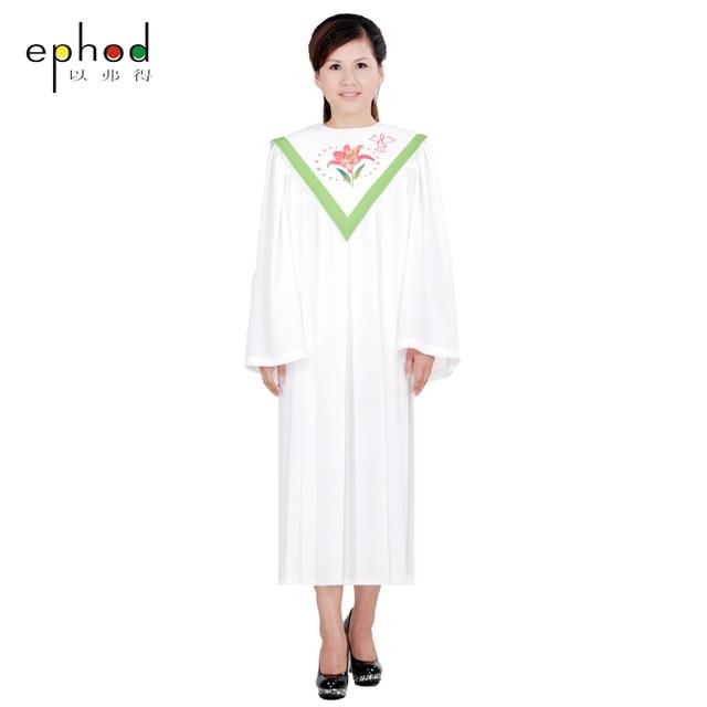 Hıristiyan Kilisesi Korosu uzun elbise Bornozlar kilisesi giyim ZAMANSıZ kadın Özel RT Clergy Robe Yeşil beyaz Özel Boyut