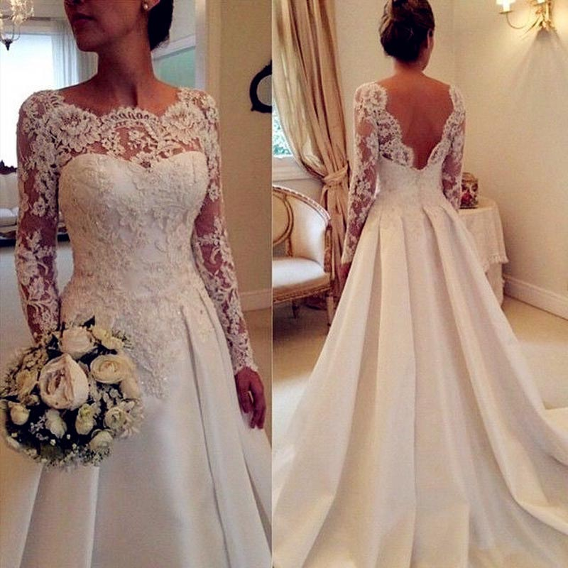 Classic A Line Sexy Wedding Dresses Backless Scoop Neck Long Sleeve Wedding Gowns Appliqued Bride Dress Vestidos