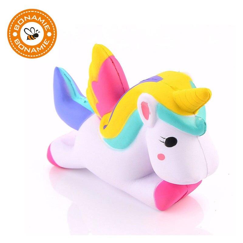 BONAMIE HOT Colorful Unicorn Squishy Toy Mobile Phone Straps Slow Rising Anti-stress Strap Cute Bag Accessories Pendant Ornament cute night sky llama pu foam squishy toy with scent