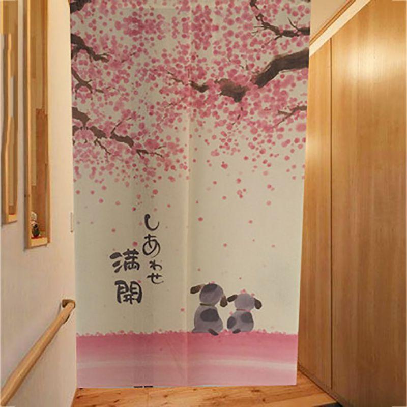 Anese Linen Romantic Blossom Cherry Sakura And Little Dog Noren