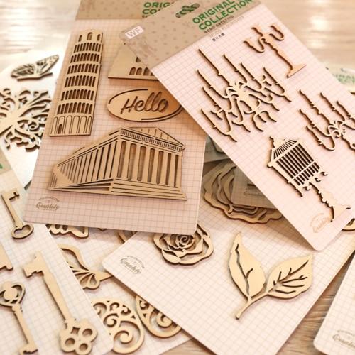 Us 15 29 15 Off Creative Wood Flourishes For Scrapbooks Home Decor Cardmaking Diy Vintage Wood Veneer Flourishes Decorations 18 Designs In