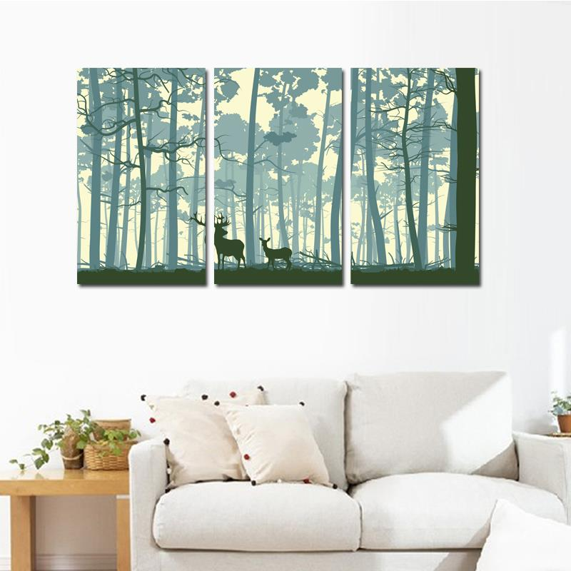 3PCS Abstract Two Deer In Forest Wall Paintings Modern Home Decoration Livingroom Drawingroom Art picture Animal Canvas Painting