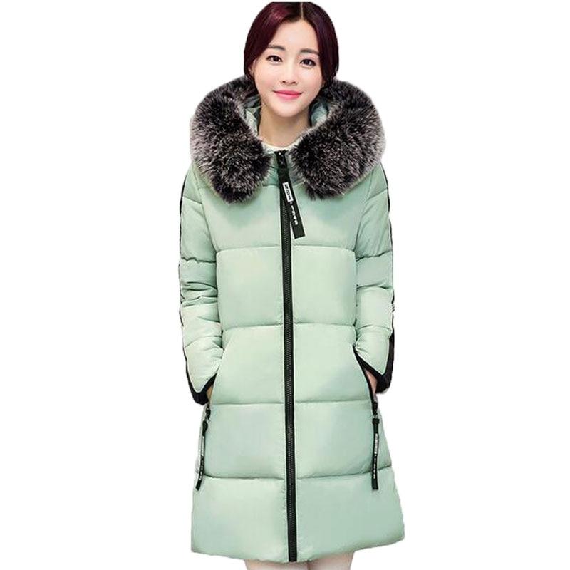 Nuevo 2017 invierno Chaqueta de algodón mujeres Faux fur collar grueso  Delgado encapuchado más tamaño Chaqueta larga chaqueta AE680 3d764c378eb