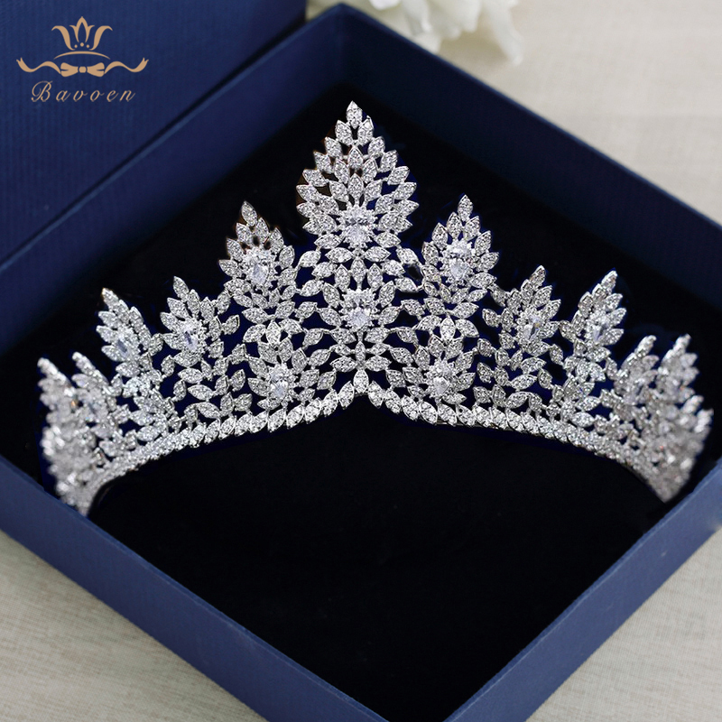 Full Zircon Crystal Brides Tiaras Crowns Silver Wedding Hairbands Royal Princess Evening Hair Jewelry Wedding Accessories high end silver wedding hairbands royal princess full zircon crystal tiaras crowns for brides evening hair accessories