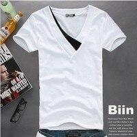 Men S Clothing Summer Boys Clothes Men Slim V Neck Color Block Decoration 100 Cotton Short