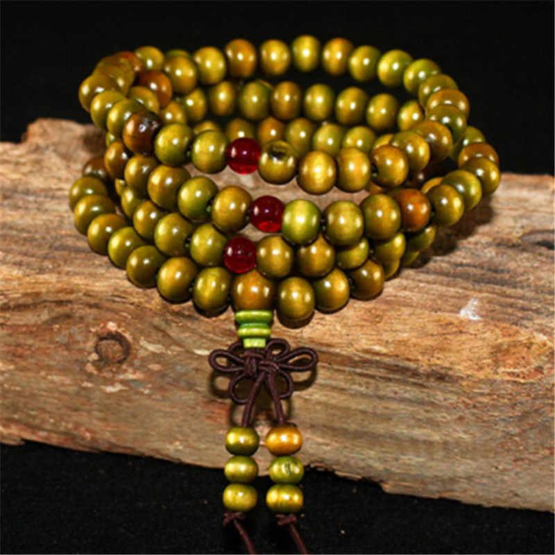Novo 108 grânulos sândalo rosário pulseiras feminino jóias oração pulsera hombre alta qualidade madeira natural frisado pulseira para homem