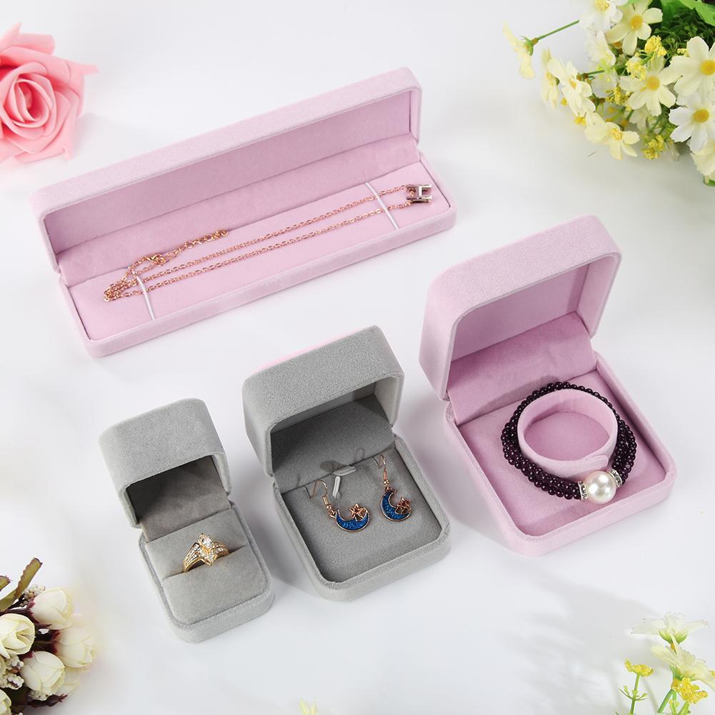 Faux Velvet Presentation Gift Jewellery Ring Necklace Bracelet Display Box Case display velvet proposal ring box bracelet box