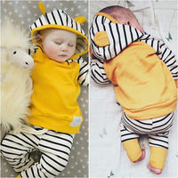 Newborn Toddler Kids Baby Boys Girls Outfits Clothes T Shirt Tops Hooded Striped Pants Casual Clothing