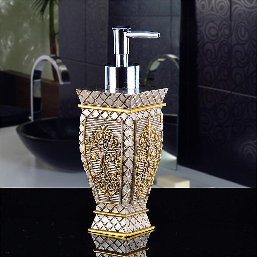 Vintage Baroque 240ml 8 1oz Resin Gold Royal Luxury Bathroom Soap Lotion Pump Dispenser