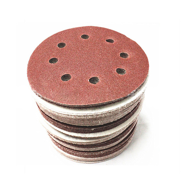 5/30 pcs 5 Inch 125mm Schuurpapier Disc Ronde Acht Zand Kuilen Lakens Grit 60 150 Haak en Ring Schuren Disc Emaille