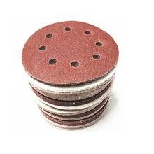 Disco de papel de lija redondo de 5/30 Uds. De 5 pulgadas y 125 mm con ocho hojas de arena 60 150