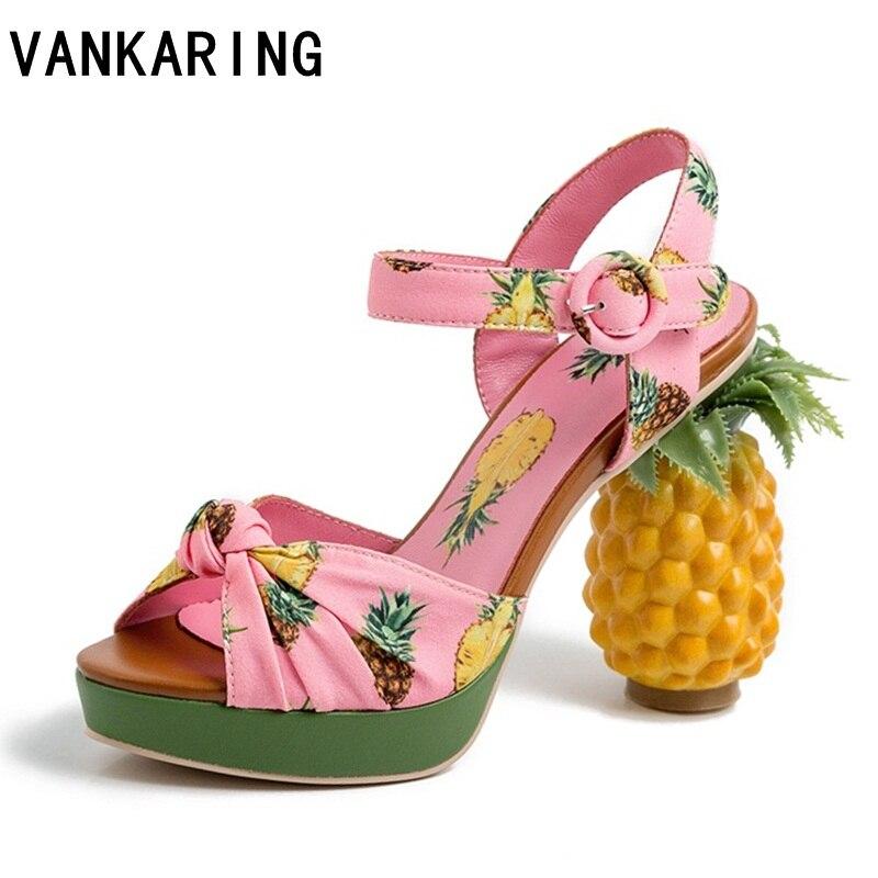 Marque nouveauté mode ananas talon pompes sexy bout ouvert en cuir sandales femmes fête date chaussures plate-forme sandales zapatos mujer