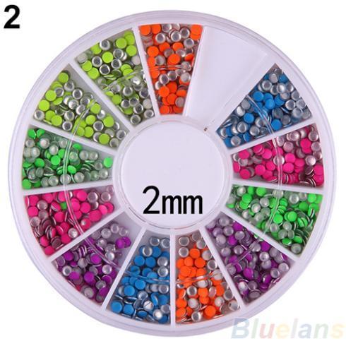 Hot6 Colors 2-3mm Neon Rivet Round Metal Stud Rhinestone Fashion Nail Art DIY Decoration 02EF 2U4F