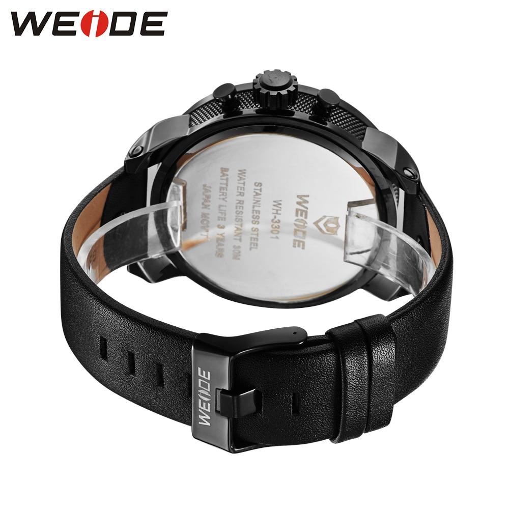 Бренд WEIDE, многофункциональные мужские спортивные часы с двойным часовым поясом, аналоговый Дисплей 30 м, водонепроницаемый кожаный ремешок,... - 6