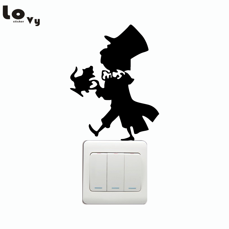Mad Hatter Switch Sticker - The Hatter Wall Decal - Alice In Wonderland Wall Sticker Home Decor