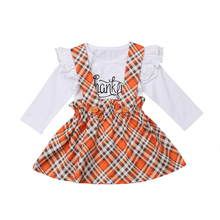 Thanksgiving Day Toddler Girls Ruffle Long Sleeves T-shirt Plaid Overall Princess Dress Clothes Set 2019