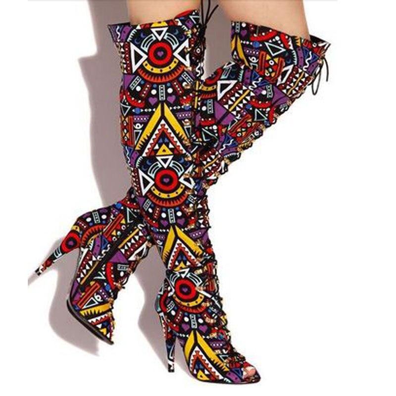 Women Peep Toe Multi Colors Folk Scrawl Thigh High Boots