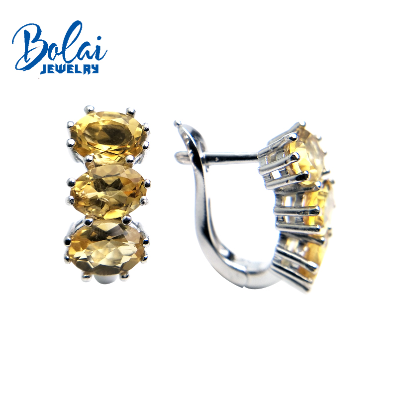 Bolaijewelry natural citrine oval 5 7mm 4 4ct gemstone clasp earring 925 sterling silver fine jewelry