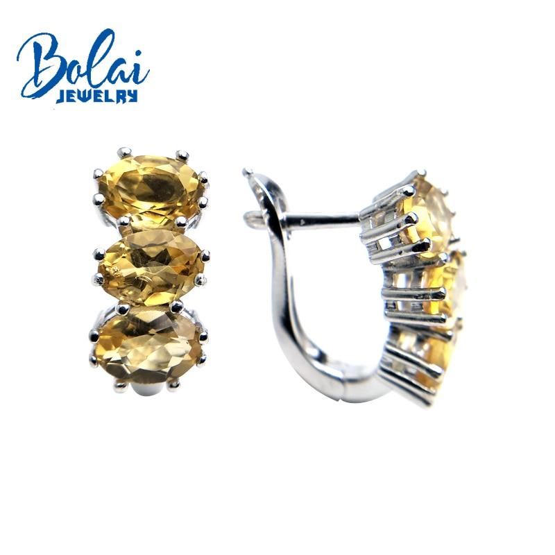 Bolaijewelry, naturalny cytryn owalny 5*7mm 4.4ct kamień zapięcie kolczyki 925 sterling silver grzywny biżuteria kobiety prezent na Boże Narodzenie pudełko w Kolczyki od Biżuteria i akcesoria na  Grupa 1