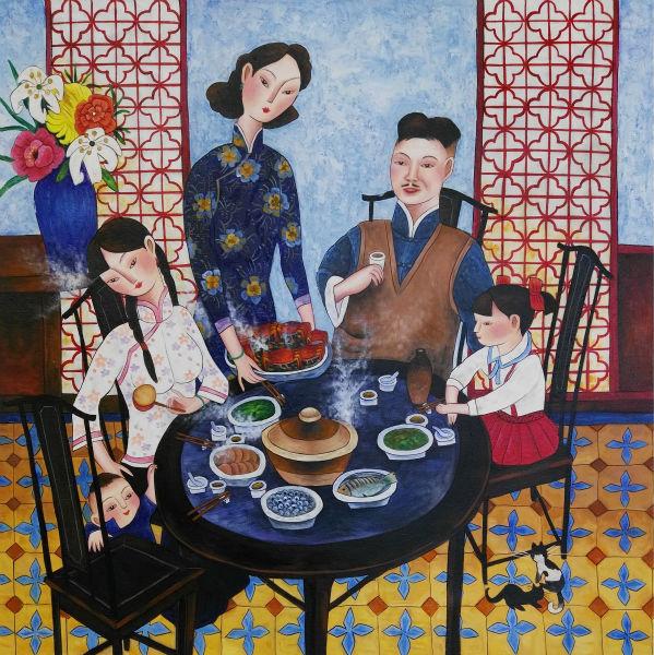Ar rokām apgleznots augstas kvalitātes audekla gleznojums - Mājas dekors