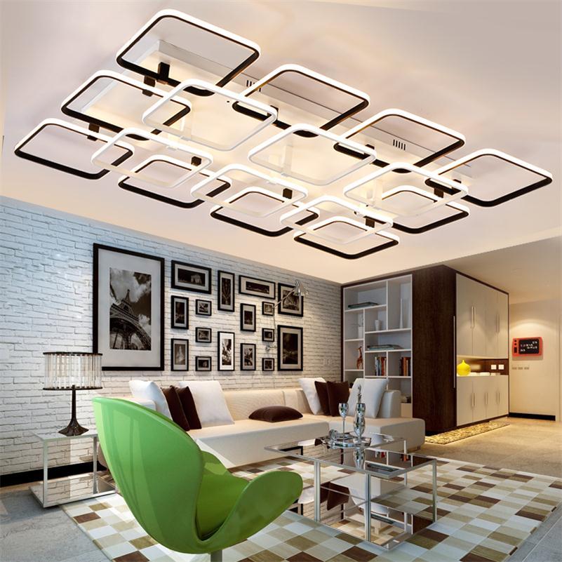 Dálkové ovládání Dimmer Moderní stropní osvětlení Para Sala Obývací pokoj Lamparas De Techo Akryl Hliník Plafonnier Luminaria