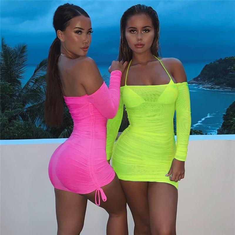 Hot pink off the shoulder spandex mini dress