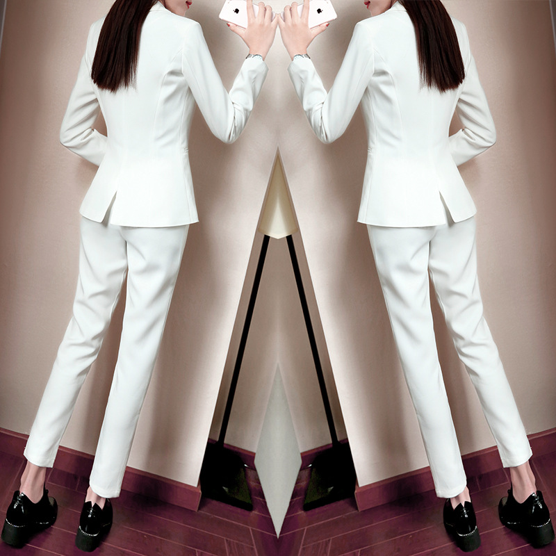 Set female professional casual small suit feet pants two-piece fashion 2018 new autumn temperament white elegant wild