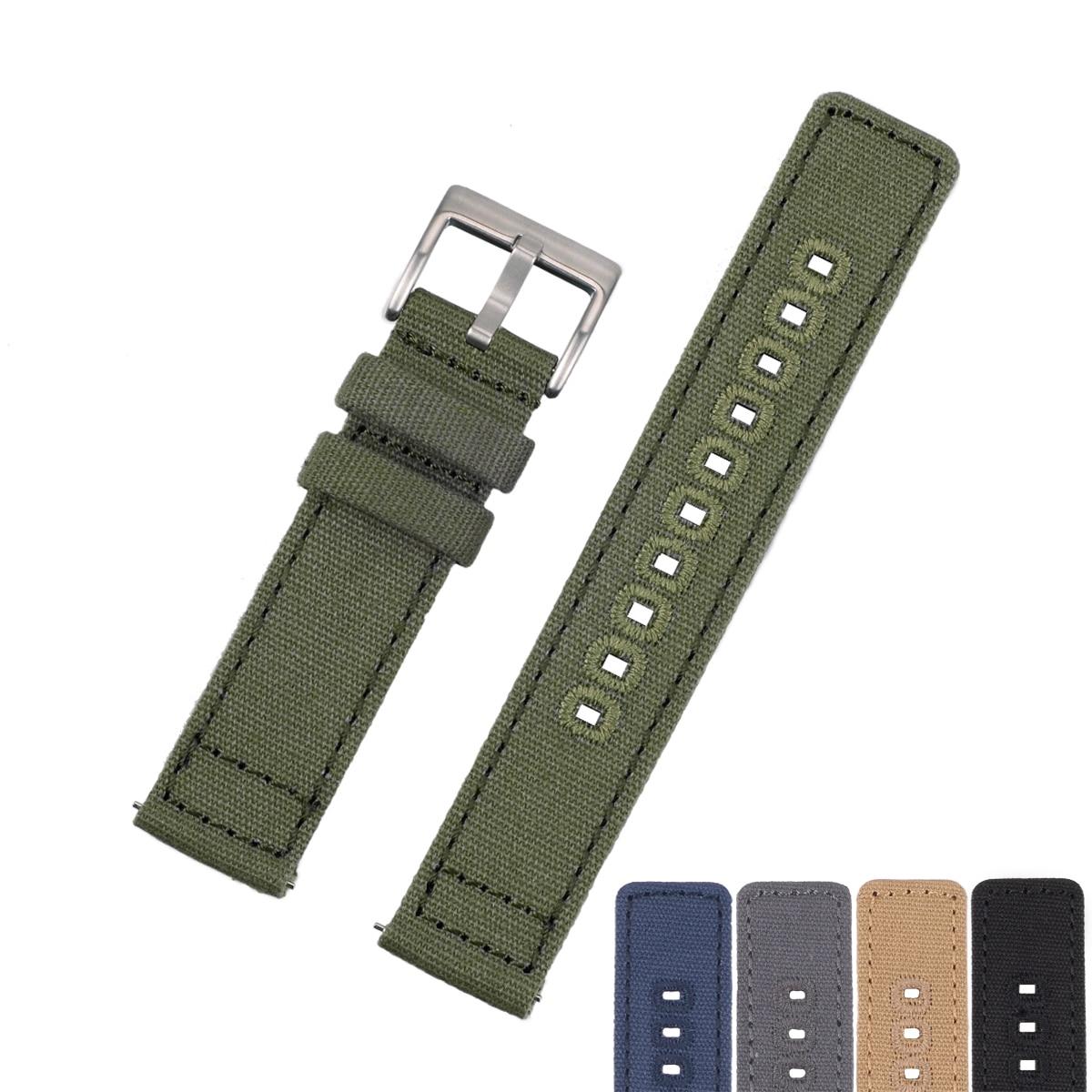 Тканевый ремешок для часов EACHE, с быстроразъемной пружиной, черный, зеленый, серый, хаки, синий, 20 мм, 22 мм