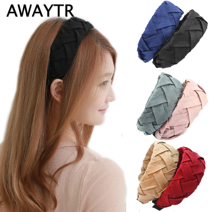 AWAYTR Wide Headband for Women Fashion Weaving Headbands 2019 New Fashion Suede Hairband Hair Accessories Handmade   Headwear