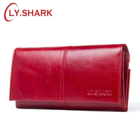 LY SHARK Luxury Brand Women Wallet Genuine Leather Wallet Women Coins Purse Clutch Female Phone Card