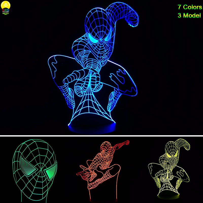 3 Versions Tough Control Spiderman Night Lights with 7 Colors Adjustable Bedroom Desk Spider Man 3D LED Lamp Lights yimia creative 4 colors remote control led night lights hourglass night light wall lamp chandelier lights children baby s gifts