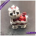 2017 New Women jewelry Chinese Lion Dance Charm With CZ Red Enamel Charm Beads S925 Silver Fit European DIY charm Bracelets UT22