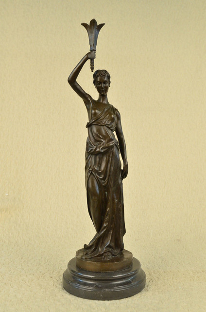 Vintage Victorian Maiden Garden Flowers Bronze Marble Statue Sculpture Art  Deco
