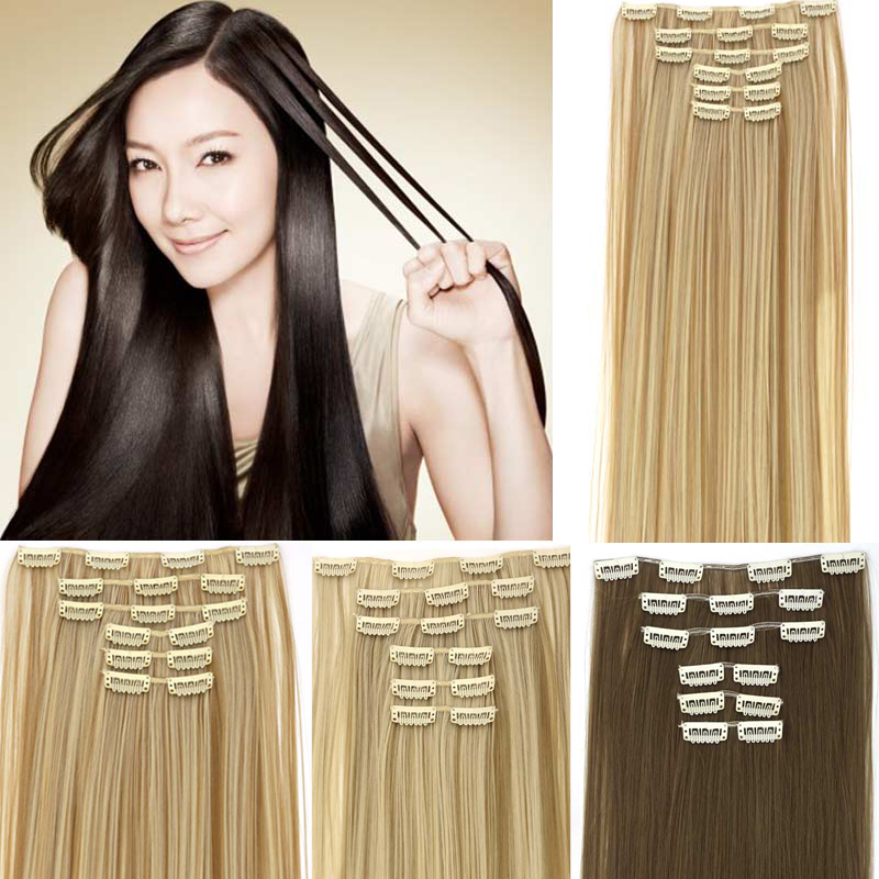 AOSIWIG 24inch 6pcs/set Straight 16 Clips in False Hair Styling Synthetic Hair Extensions Hairpiece Cosplay Extension for Human