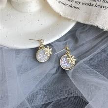 2019 Korean Fashion Snowflake Geometric Earrings Exquisite Crystal For Women Jewelry Brincos Bijoux boucle doreille