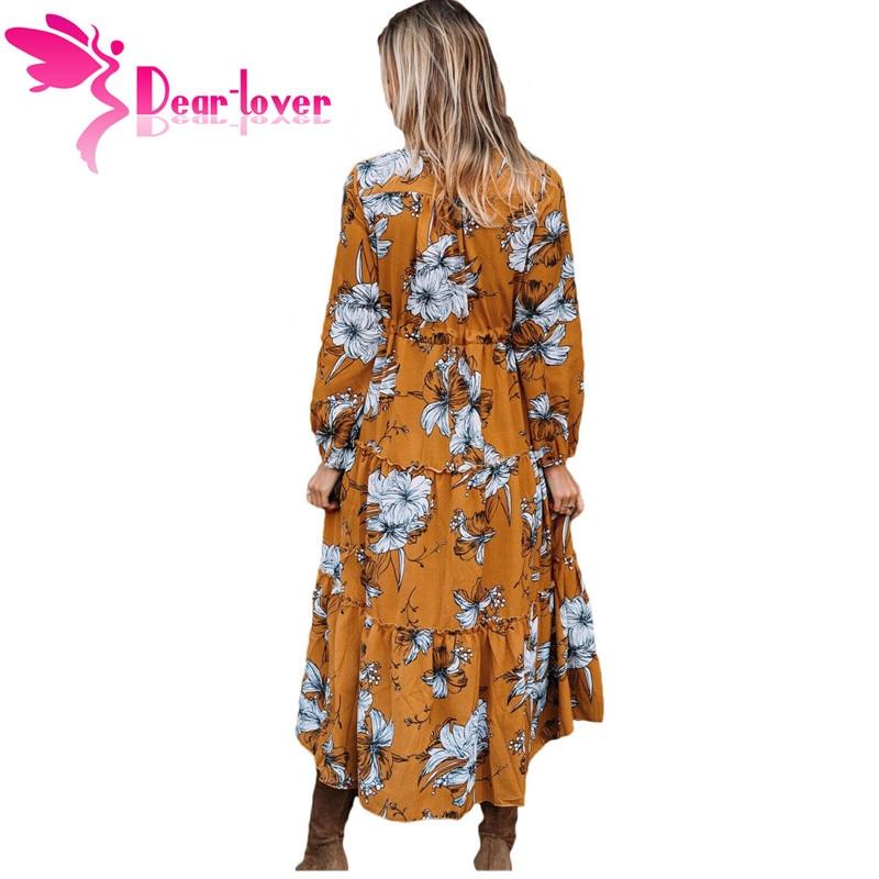 515cc4d6f411 Dear Lover Autumn Dress 2017 Vintage Hot Wine Black Mustard Floral Print  Long Sleeve Boho Maxi Dress Vestidos Robe Femme LC61669 on Aliexpress.com