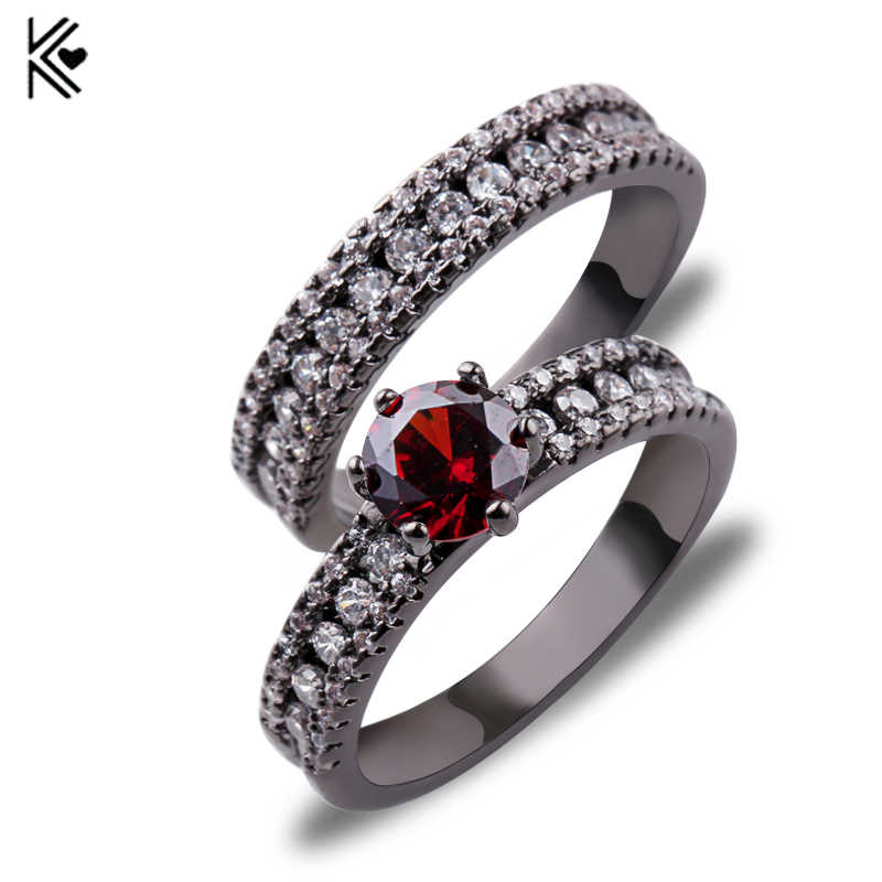 Red Ring Sets New Fashion Wedding Party Red Zircon Rings For Men And Women Black Gold Filled Jewelry Gifts Bijoux Accessories