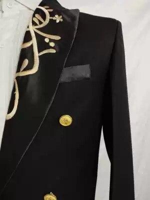 Véritable homme col broderie événement/tapis rouge/étoiles long manteau/scène performance/studio/danse swallowtail veste peut douane taille