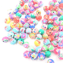 100Pcs Mixed Colourful Spacer Beads Round Flowers Polymer Clay Fashion Jewelry DIY Making Findings Charms 6mm