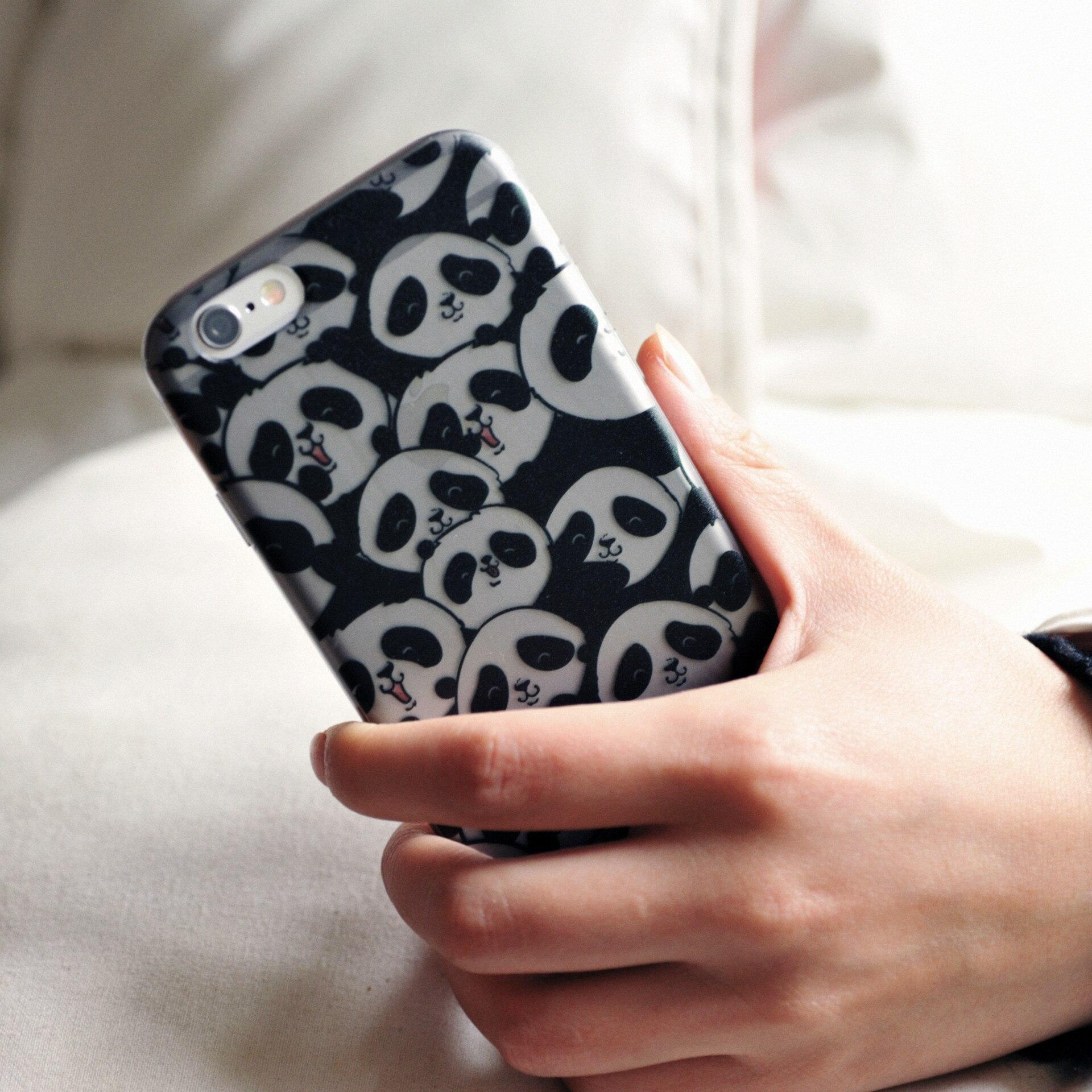 Симпатичные панды палец кольцо телефон чехол для iPhone 6 S 4.7 дюймов прозрачный ТПУ Матовая телефона чехол для Iphone 6 6 S