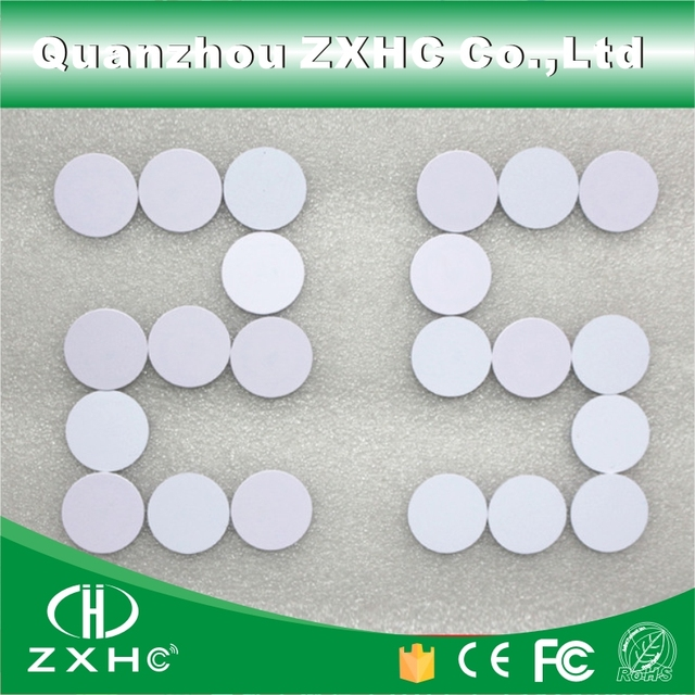 (10PCS) Waterproof 25mm x 1mm RFID Read-only 125KHz Tag PVC Coin Card with TK4100(compatible EM4100)