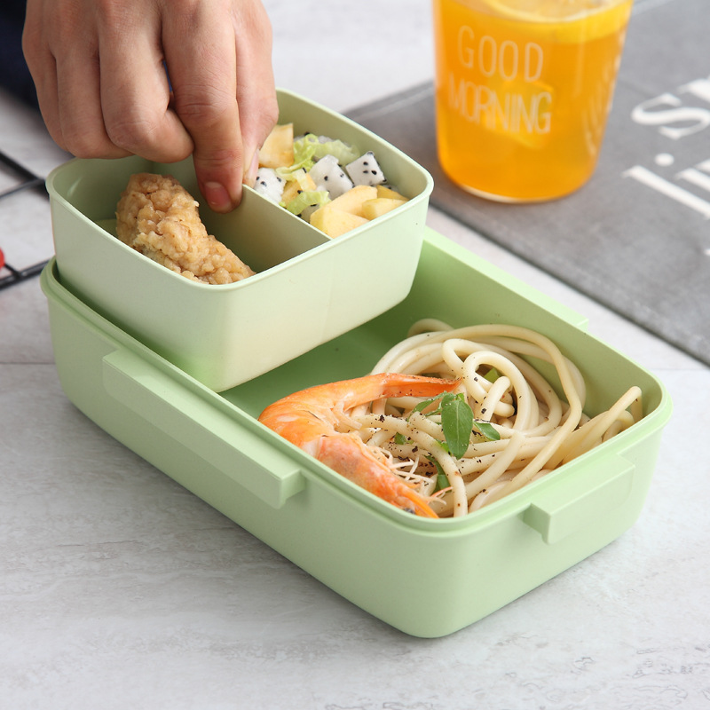 Image 2 - Portable Healthy Material Lunch Box Independent Lattice For Kids Bento Box Microwave Dinnerware Food Storage Container Foodbox-in Lunch Boxes from Home & Garden