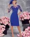 Vestido mae da noiva 2016 Azul Real de La Rodilla-Longitud Madre de los vestidos de novia de Media Manga de La Envoltura Con la Chaqueta Con Cuentas de Noche vestido