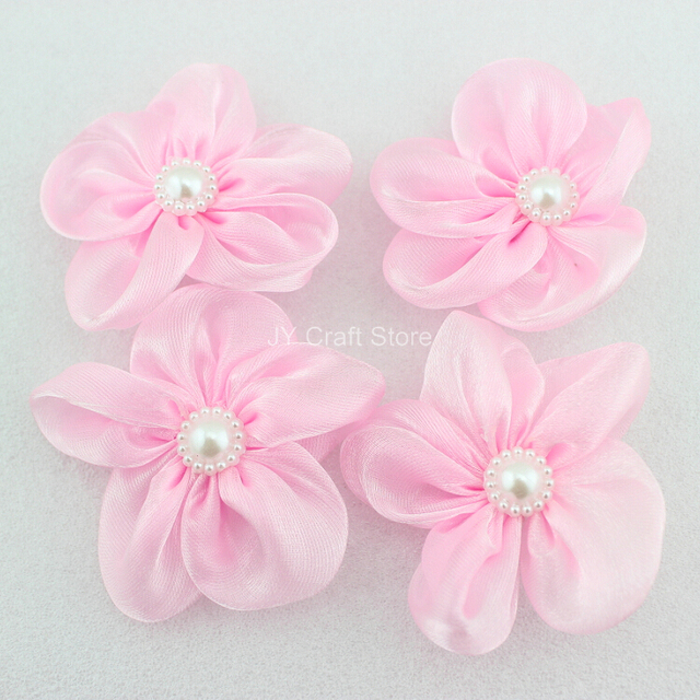 Set Of 50pcs Glitter Pink Bridal Silk Flowers With Pearl Flower