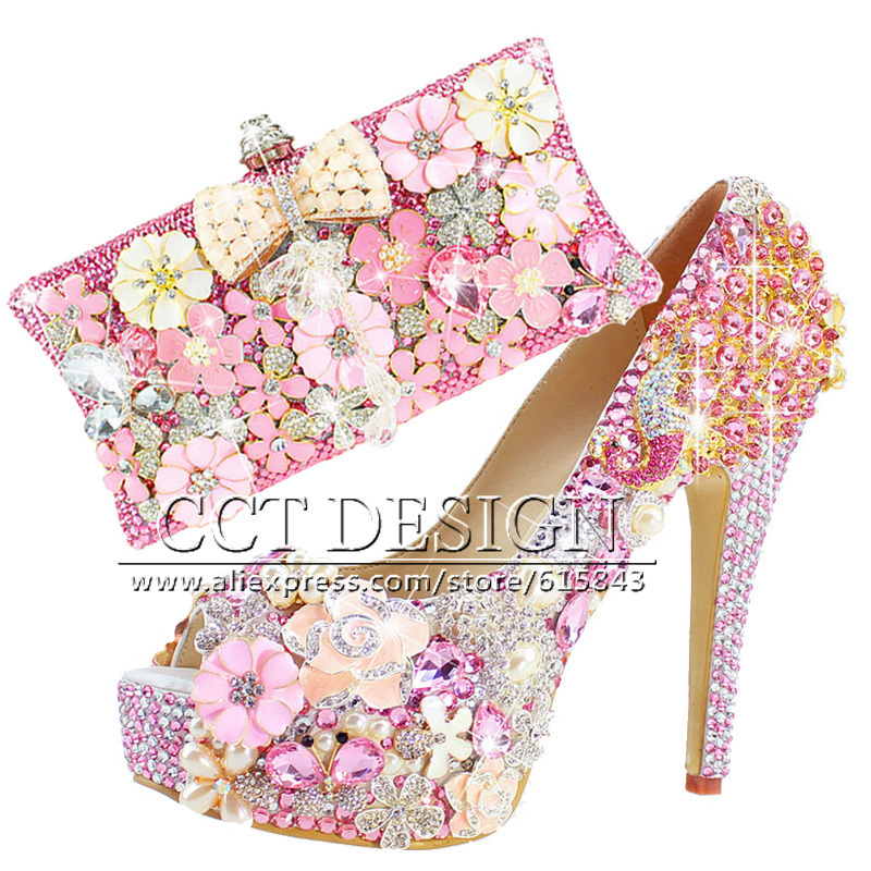 21dff1ae88f3 Hot Pink Peep Toe Pumps Flowers Women Shoes High Heels Glitter Crystal  Wedding Platform Party Shoes Italian Shoes And Bag Set