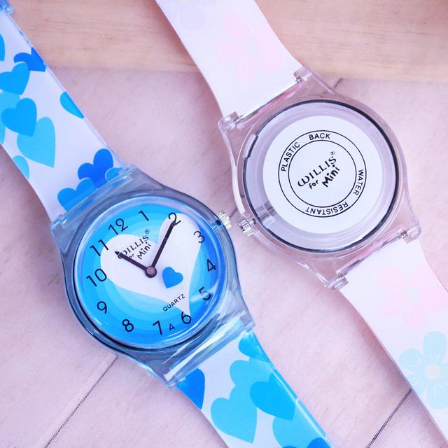 2018 WILLIS summer new brand children students fashion quartz watches kids soft waterproof sports heart butterfly wristwatches