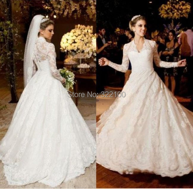 Unique Spanish Lace Long Sleeve High Neck Wedding Dress