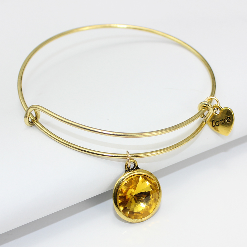 Mode 12 Birthstone Charm Armband Verstellbare Gold Expandable Wire - Modeschmuck - Foto 3