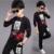 Primavera 2017 de los muchachos del desgaste sets bebé grande para niños de manga larga traje de ocio infantil twinset cartoon tiger head boy ropa